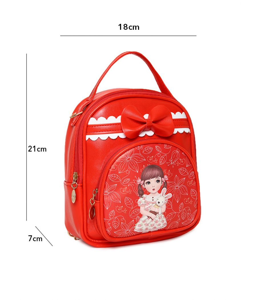 Envie Red Colour Printed Backpack for School Girls