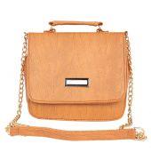 Aliado Faux                Leather Embellished Mustard Magnetic Snap Closure Crossbody Bag