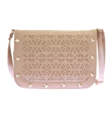 Envie Faux Leather Cream Coloured Magnetic Snap Embellished Sling Bag