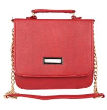 Aliado Faux Leather Embellished             Red Magnetic Snap Closure Crossbody Bag