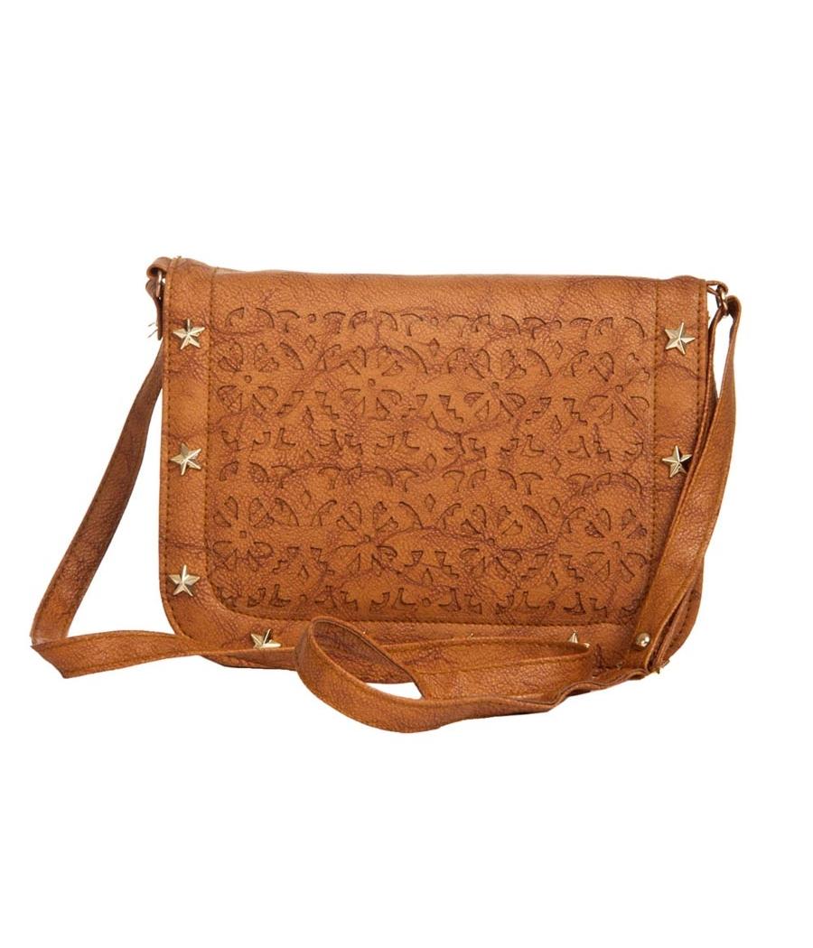Envie Faux Leather Brown Coloured Magnetic Snap Embellished Sling Bag