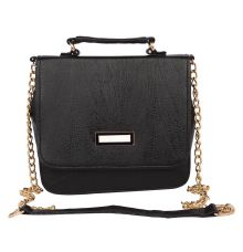 Aliado Faux Leather Embellished Black           Magnetic Snap Closure Crossbody Bag