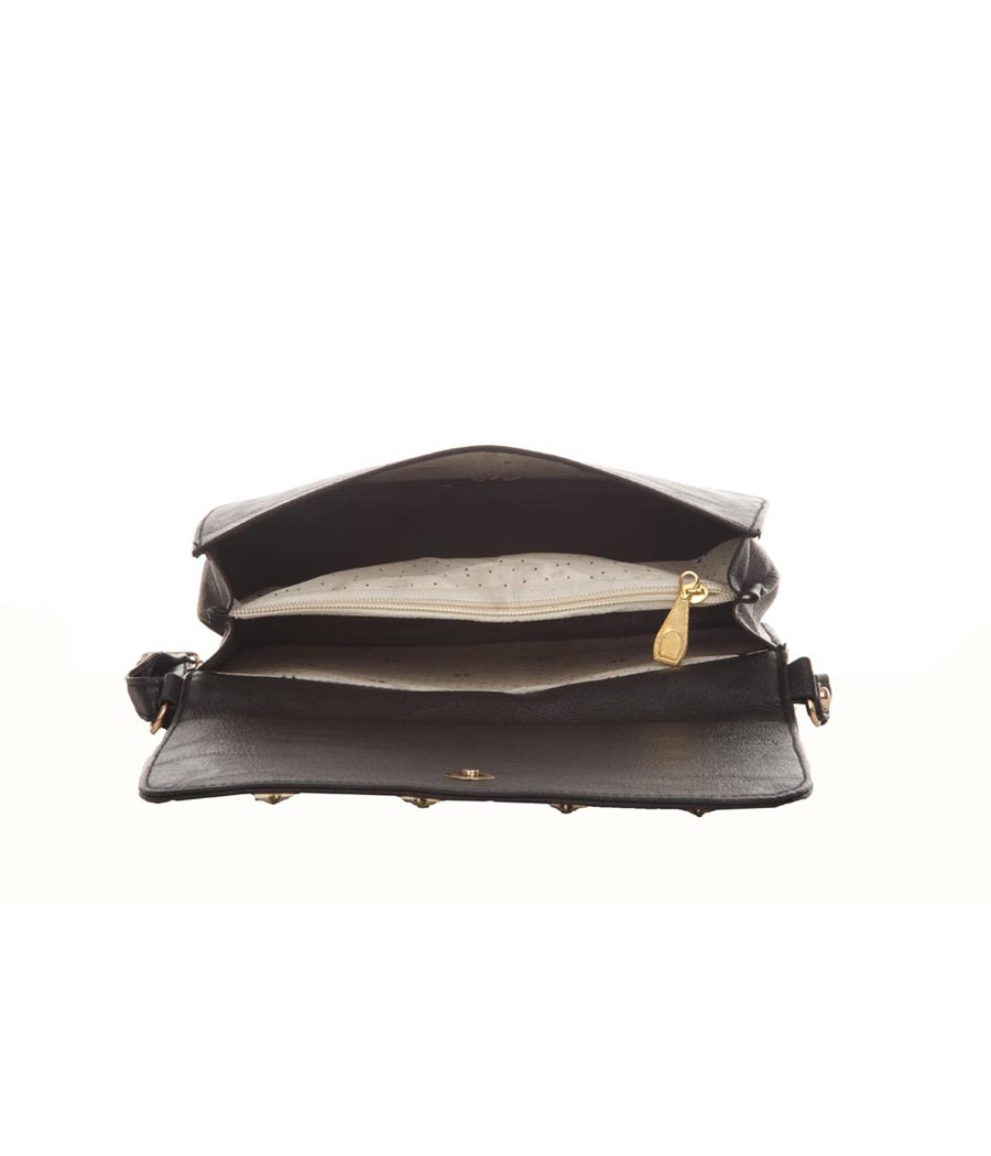 Envie Faux Leather Solid Black Magnetic Snap Crossbody Bag