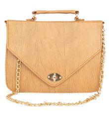 Aliado Faux Leather Embellished        Beige Twist Lock Closure Crossbody Bag