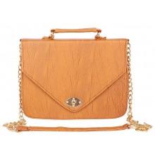 Aliado Faux           Leather Embellished Mustard Twist Lock Closure Crossbody Bag