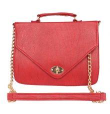 Aliado Faux Leather           Embellished Red Twist Lock Closure Crossbody Bag