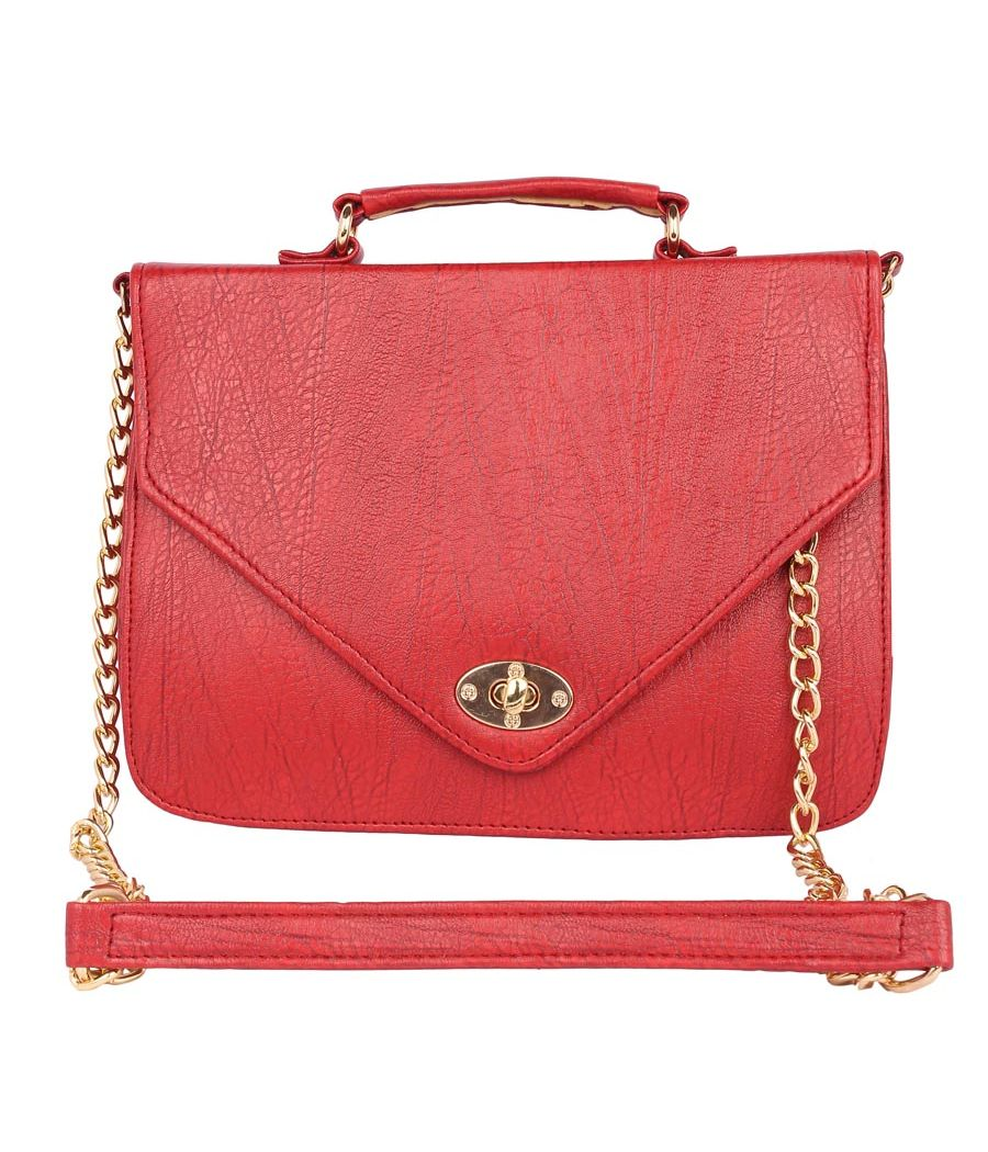 Aliado Faux Leather           Embellished Red Twist Lock Closure Crossbody Bag