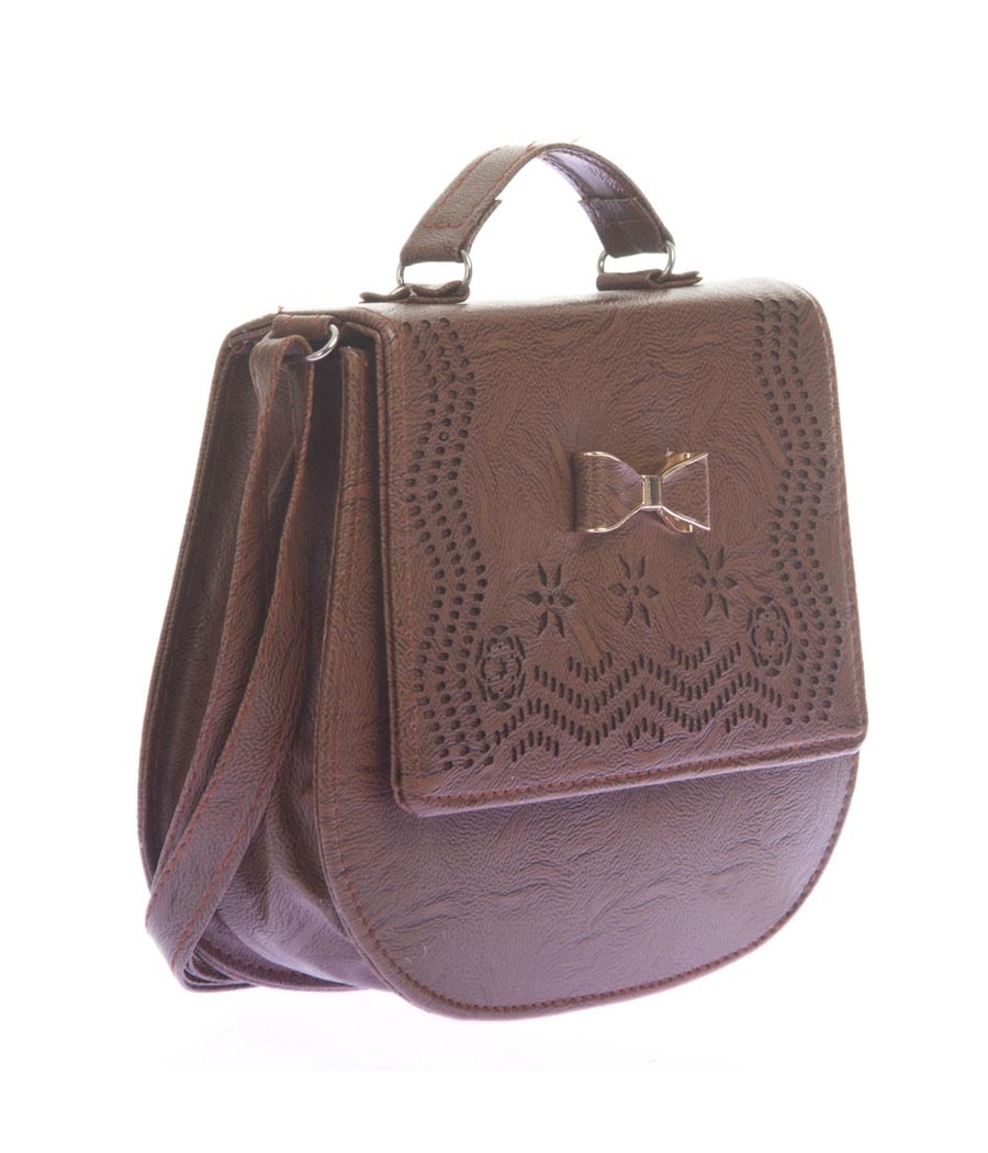 Envie Faux Leather Brown Solid Sling Bag for Women
