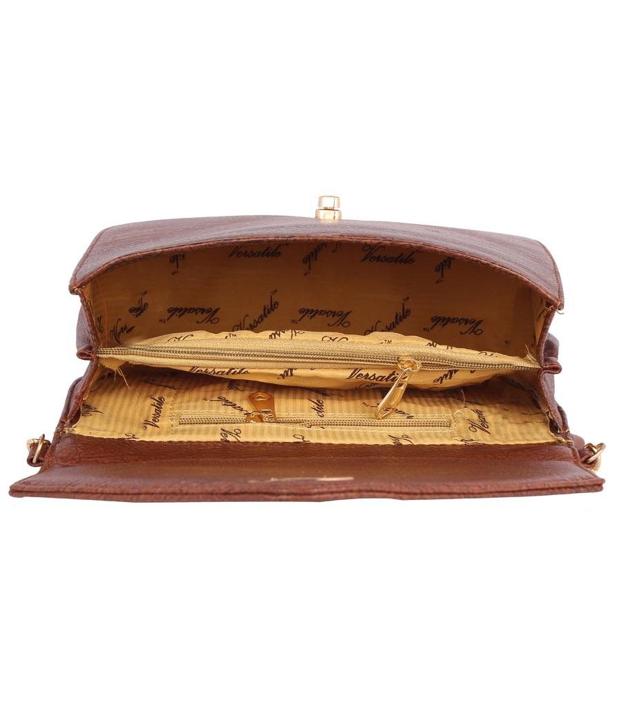 Aliado Faux Leather Embellished           Brown Twist Lock Closure Crossbody Bag