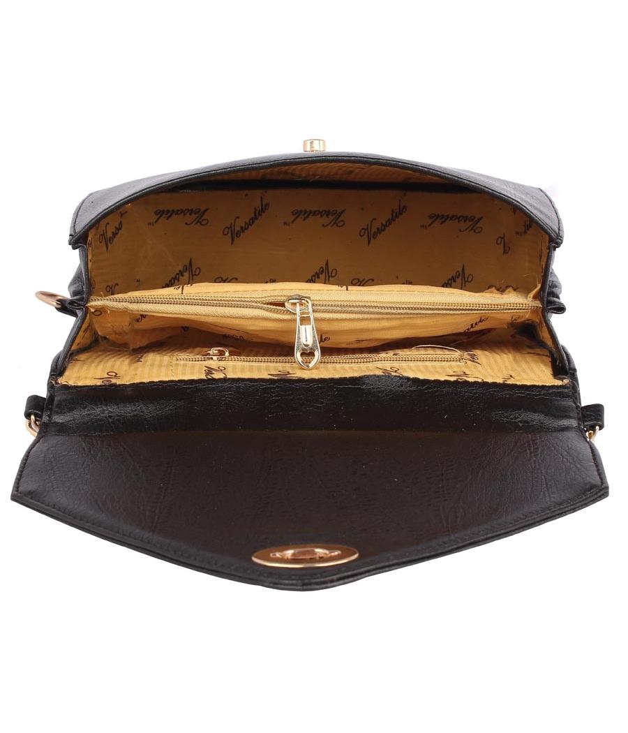Aliado Faux                Leather Embellished Black Twist Lock Closure Crossbody Bag