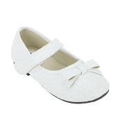 Joy n Fun Sparkly Front Strap Decorated White Party Wear Shoes for  Girls