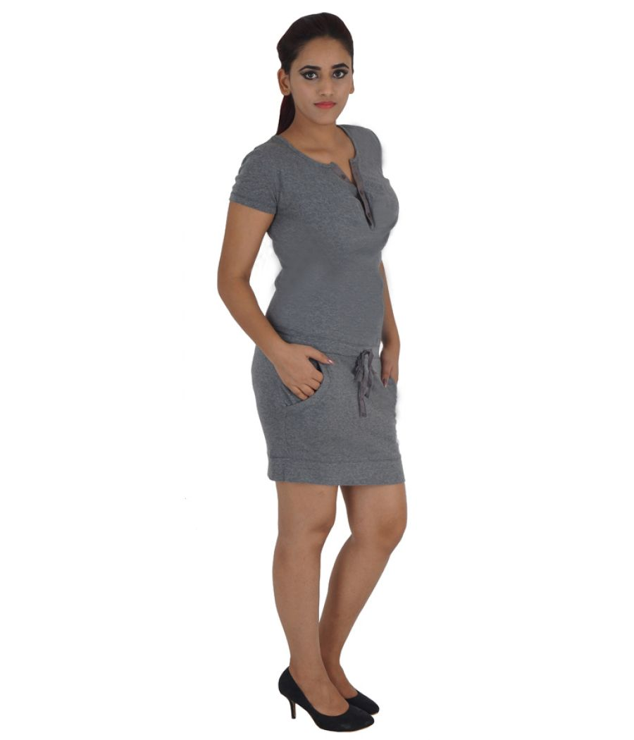 Only Hosiery Solid Grey Midi Half Sleeves Belted Casual Dress