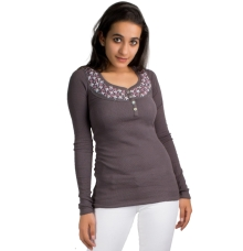 Moss Grey Embroidered Top