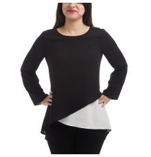 Etashee Certified Crepe Solid Black & White Round Neck Long Sleeves Crossover Design Casual Top