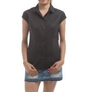 Wills Classic Silk Satin Black Stripes Button Closure Collared Shirt