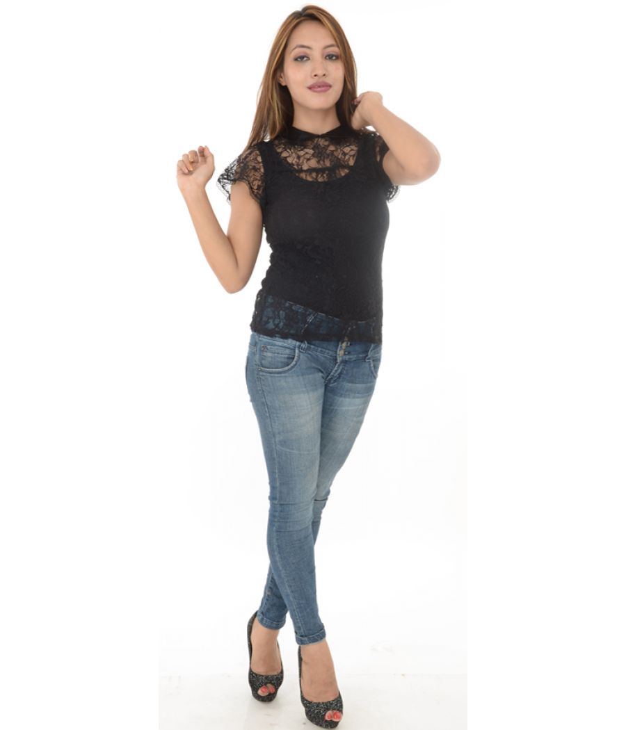 Warehouse Black Collared Lace Top