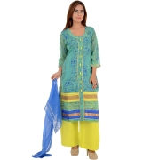 Sanida Abstract Print Sea Green/Yellow Suit Set