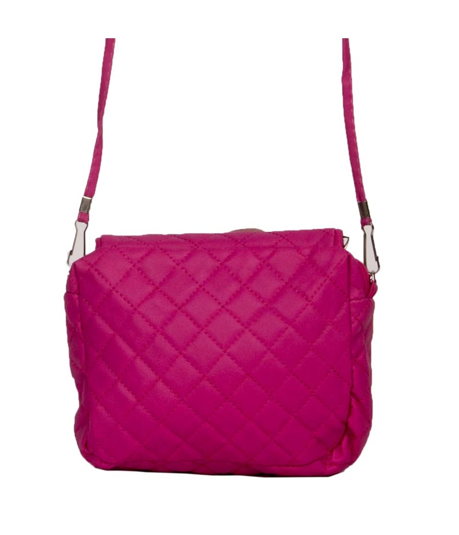 Envie Pink Zipper Closure Quilted Pattern Sling Bag
