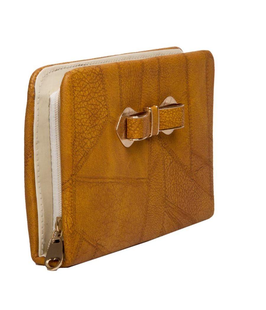 Envie Faux Leather Cream Coloured Zipper Clsoure Croc Pattern Clutch for Women