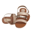 MCS Synthetic Leather Gold Colour Buckle Closure Multi Strap Casual Flat