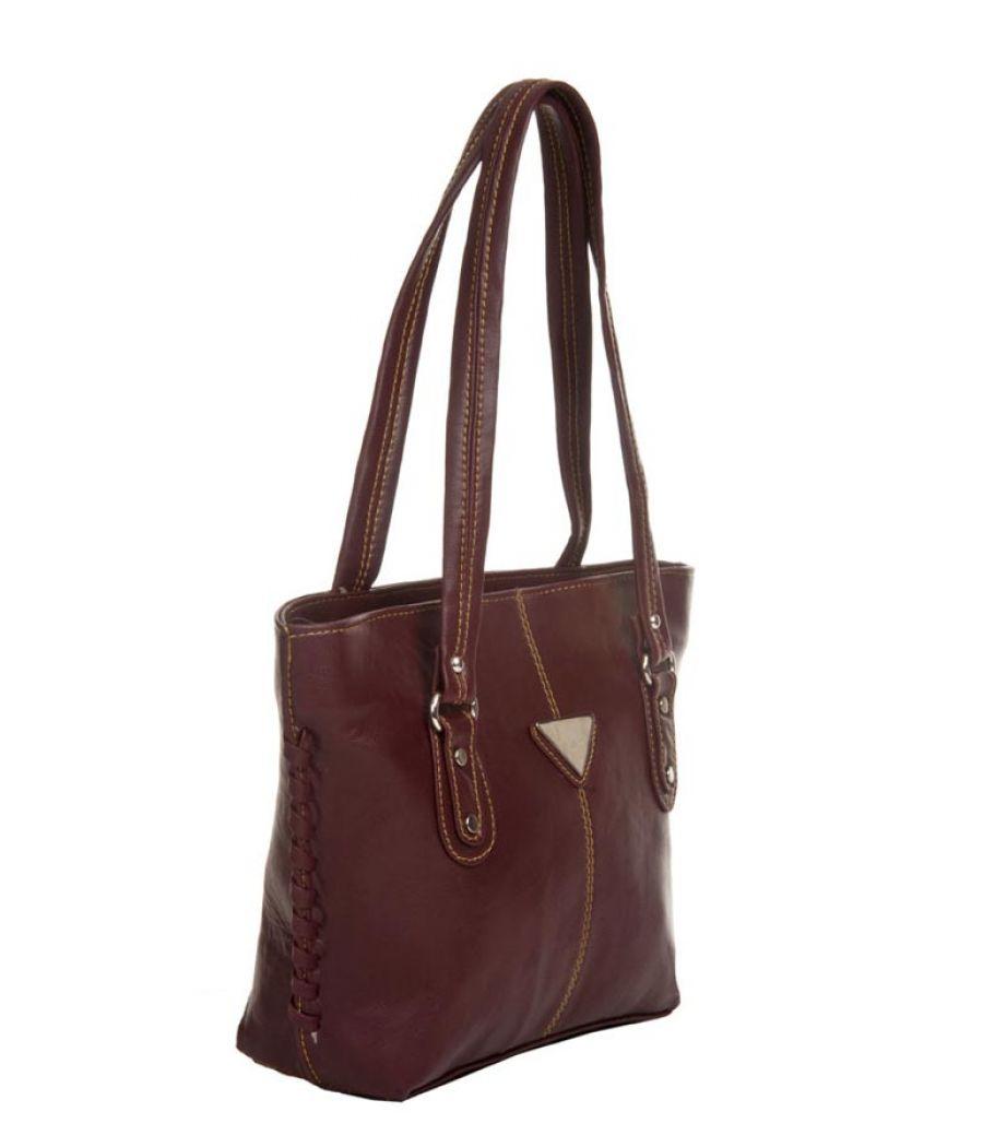 Aliado Faux Leather Solid Coffee Brown Zipper Closure Tote Bag