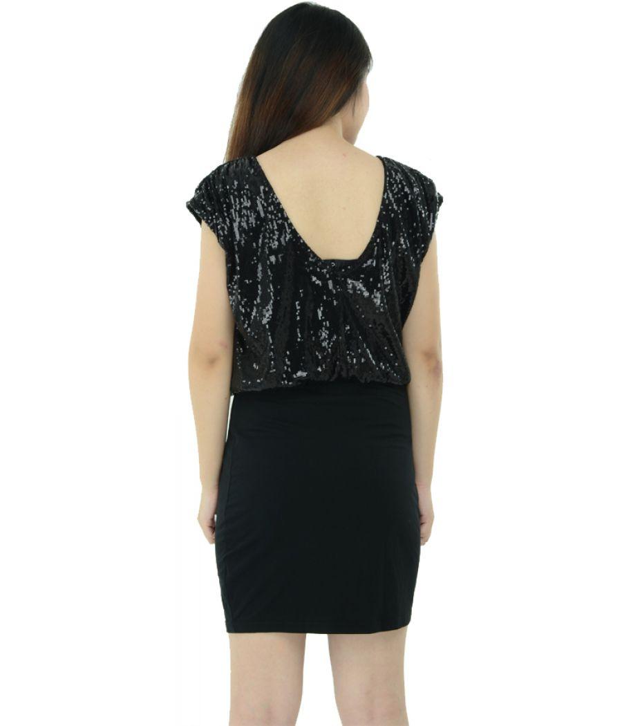 Black Sequin Top Mini Dress
