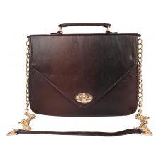 Aliado Faux Leather Brown               and Black Twist Lock Closure Crossbody Bag