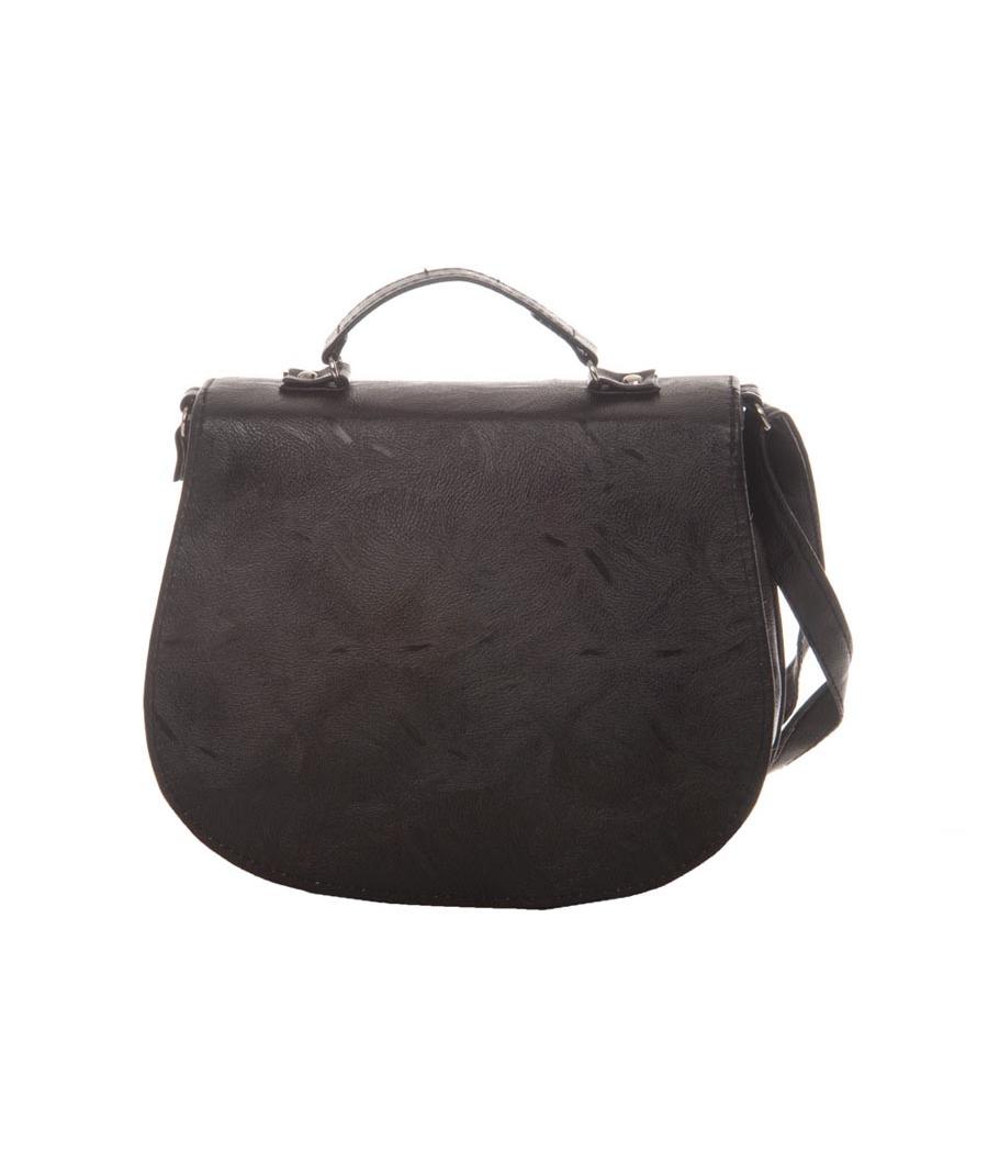 Envie Faux Leather Black Coloured Magnetic Snap Embellished Sling   Bag