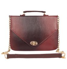 Aliado Faux Leather Magenta and Black              Twist Lock Closure Crossbody Bag
