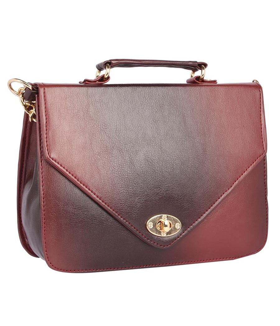 Aliado Faux Leather Magenta and Black              Twist Lock Closure Crossbody Bag