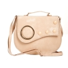 Envie Faux Leather Embellished Cream Magnetic Snap Crossbody Bag