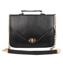Aliado Faux Leather  Black Twist             Lock Closure Crossbody Bag