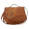Envie Faux Leather Embellished Brown Magnetic Snap Crossbody Bag