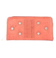 Aliado  Faux Leather      Embellished Peach Zipper Closure Clutch