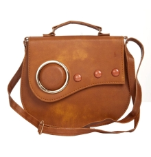 Envie Faux Leather Solid Brown Magnetic Snap Sling Bag