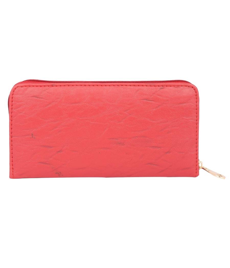 Aliado  Faux Leather Embellished Red Zipper       Closure Clutch