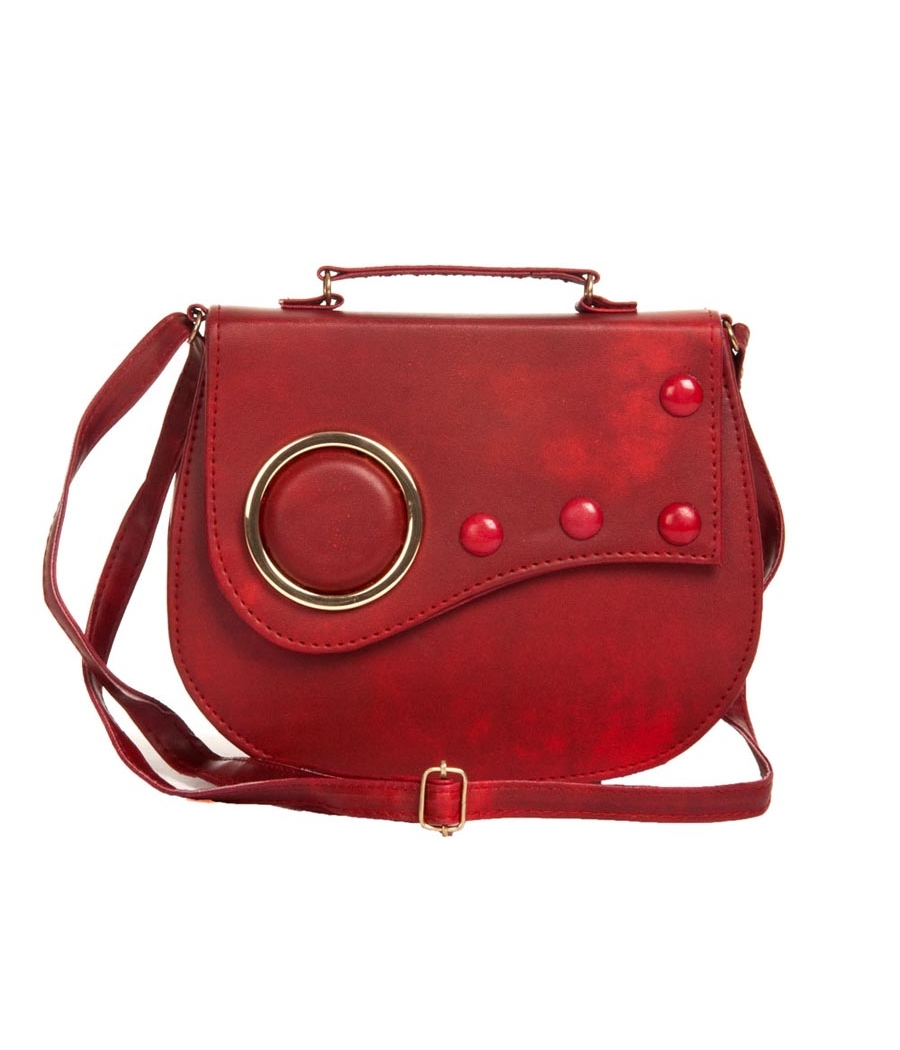 Envie Faux Leather Embellished Magenta Magnetic Snap Crossbody Bag