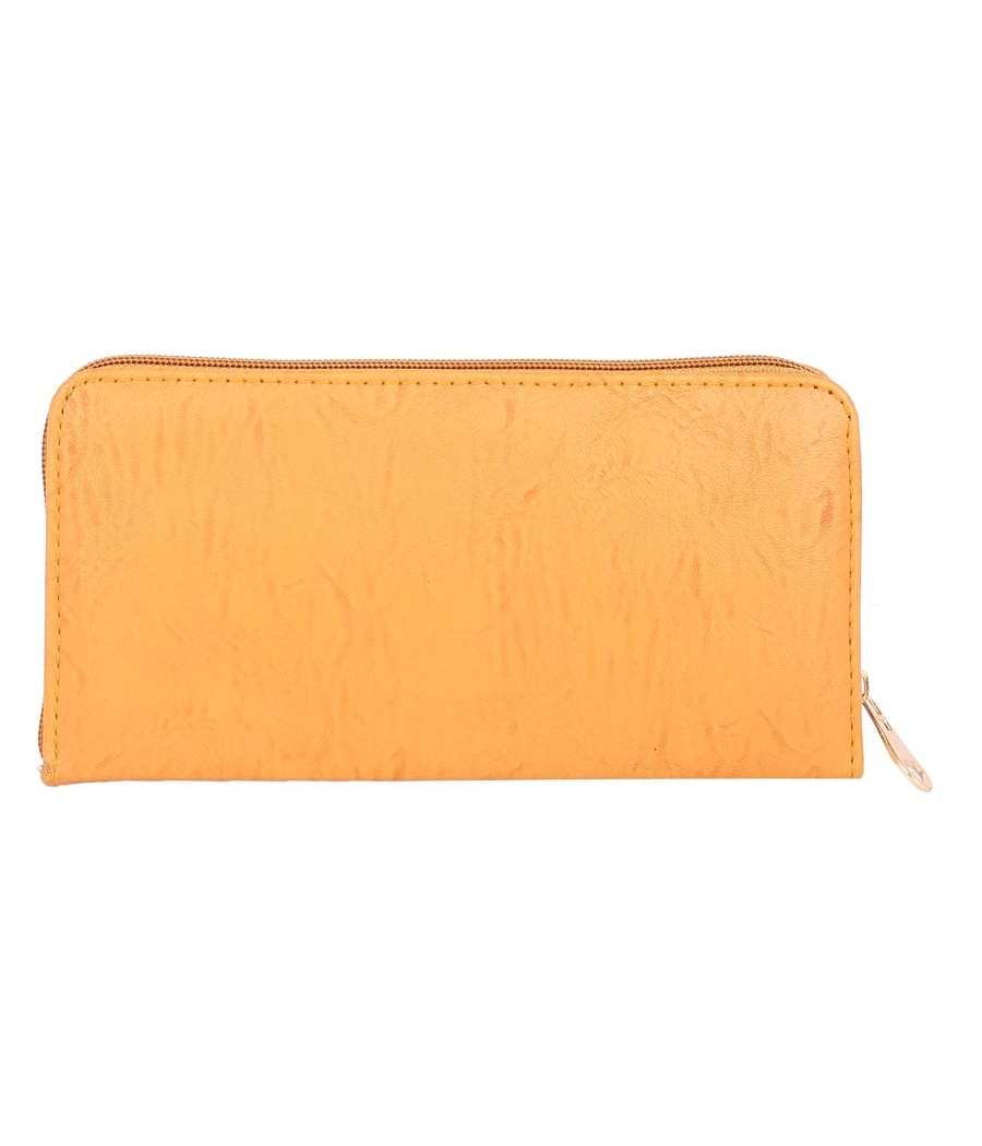 Aliado  Faux Leather         Embellished Mustard Zipper Closure Clutch
