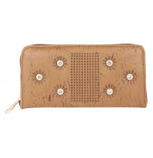 Aliado          Faux Leather Embellished Brown Zipper Closure Clutch