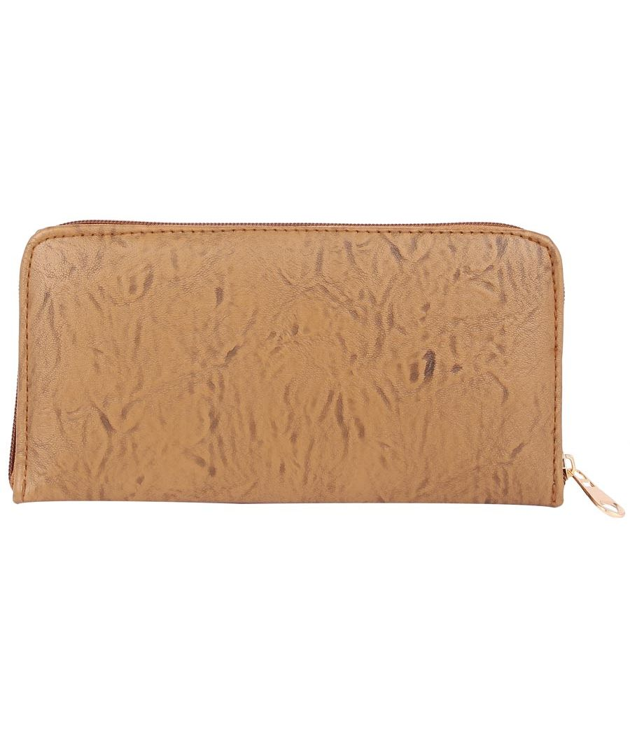 Aliado          Faux Leather Embellished Brown Zipper Closure Clutch