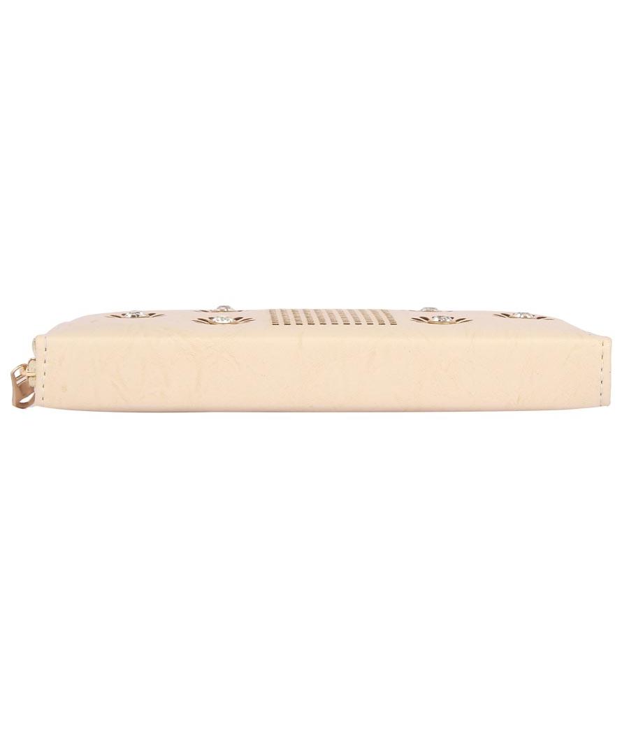 Aliado  Faux Leather Embellished Pink         Zipper Closure Clutch