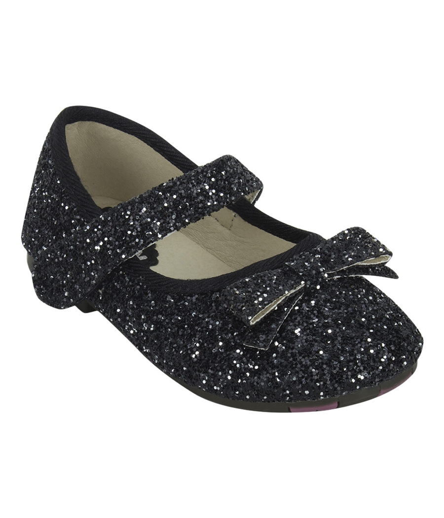 Joy n Fun Sparkly Front Strap Decorated Black Party Wear Shoes for  Girls