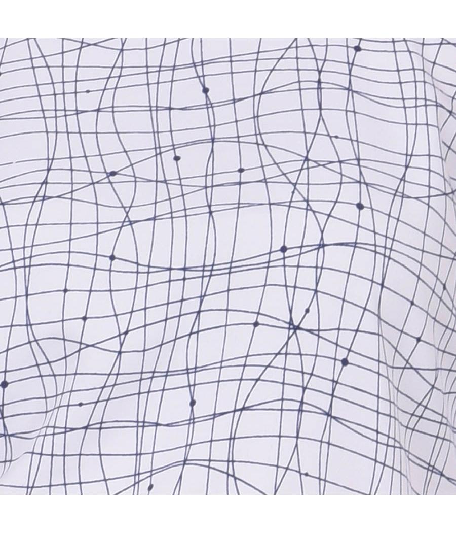 Estance Crepe Abstract Print Round Neck Cold Shoulder Plain Casual Top
