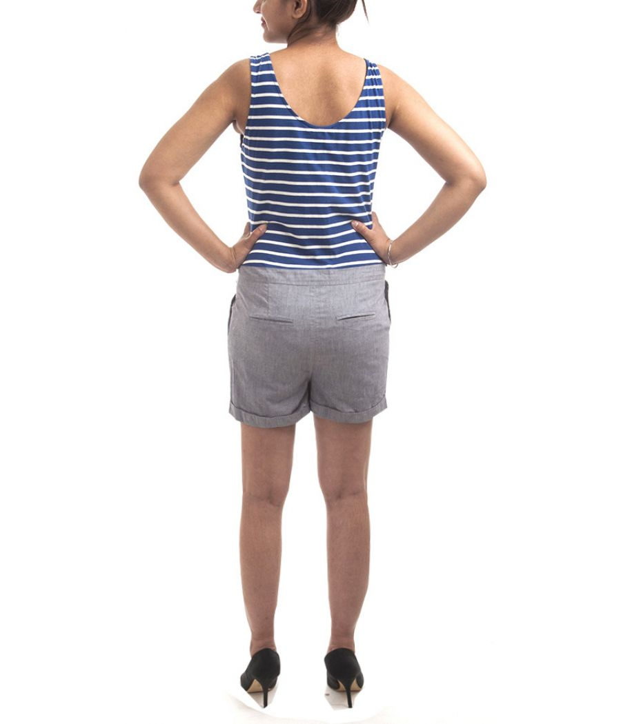 Mango Cotton Blue & White Striped Sleeveless Short Length Wide Cut Length U Neck Cotton Playsuit