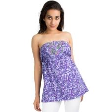 Purple Floral Print Tube Top
