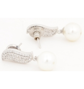 Silver Earrings With Pearl Hanging