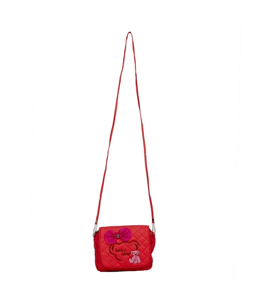 Envie Red  Zipper Closure Quilted Pattern Crossbody Bag
