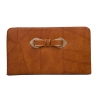 Envie Faux Leather Brown Coloured Zipper Lock Croc Pattern Clutch