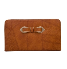 Envie Faux Leather Brown Coloured Zipper Lock Croc Pattern Clutch