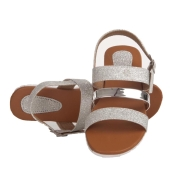 MCS Synthetic Leather Silver Coloured Buckle Closure Flat